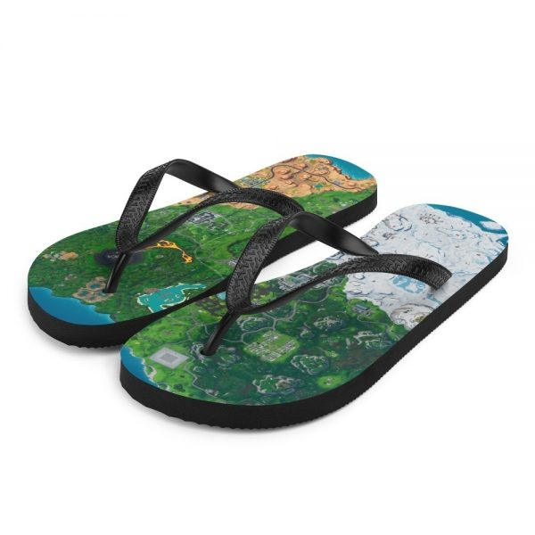 Flip flops for women, men and kids with fortnite season 9 map printed